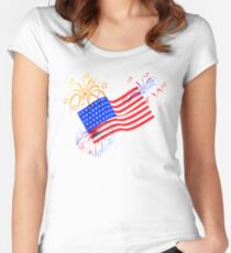 Patriotic Fireworks Women's Fitted Scoop T-Shirt