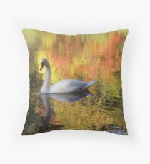Swan in the Fall Throw Pillow