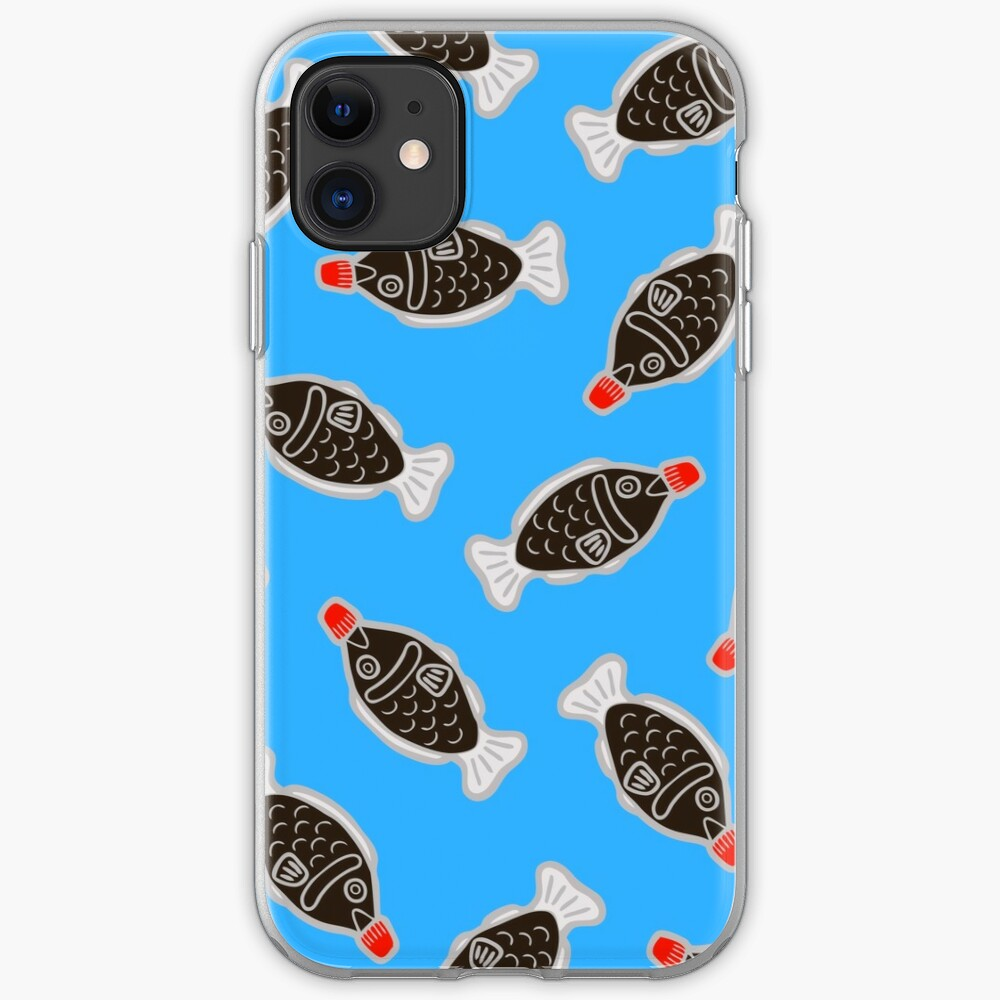 Sushi Soy Fish Pattern in Blue iPhone Soft Case
