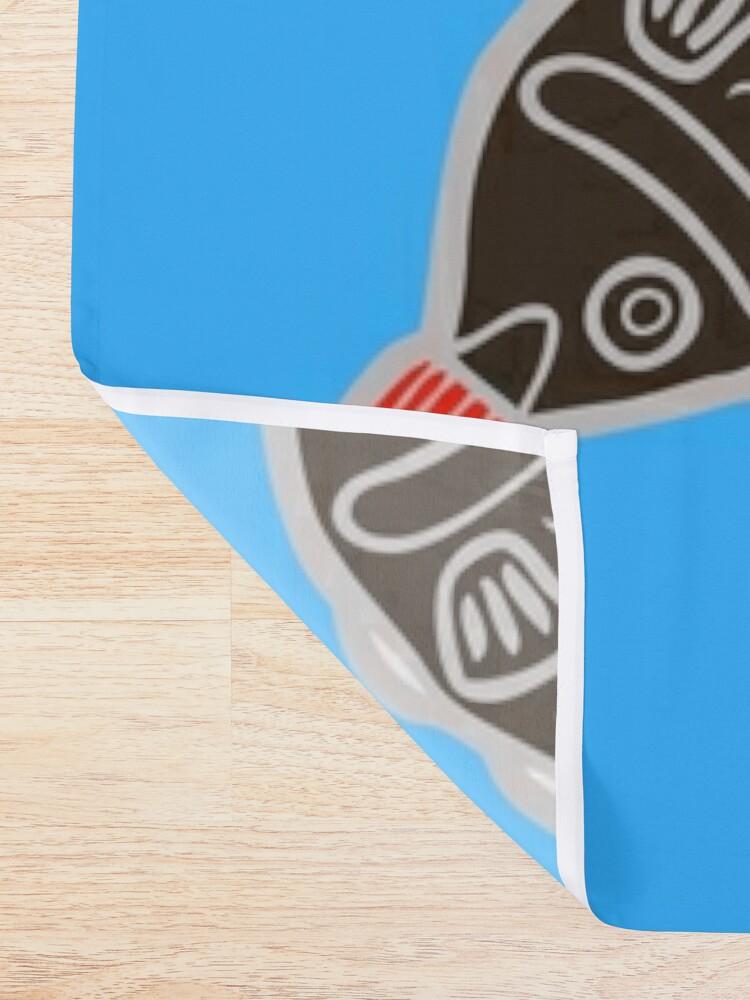 Vista alternativa de Cortina de ducha Sushi Fish Fish Pattern en azul