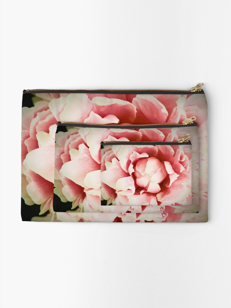 Alternate view of Peach Peony Zipper Pouch