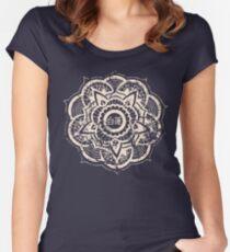 Weißer Lotus (blau) Tailliertes Rundhals-Shirt