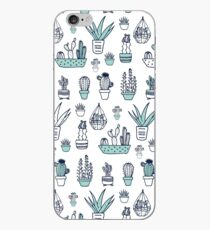 Tiny Cactus Garden in Navy Blue, Teal, and White iPhone Case