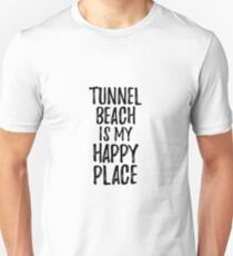 Tunnel Beach Is My Happy Place Nostalgic Traveler Gift Idea Missing Home Souvenir Unisex T-Shirt
