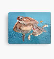 Meeresschildkröte-Liebe Metalldruck