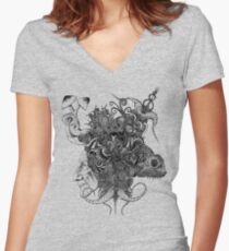 Psilocybinaturearthell Psychedelic Ink Illustration Women's Fitted V-Neck T-Shirt