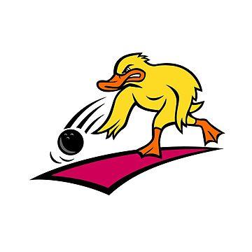 Duck Bowler Bowling Ball Mascot Cartoon by patrimonio