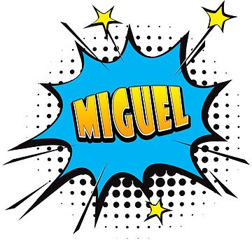Comic book speech bubble font first name Miguel by PM-Names