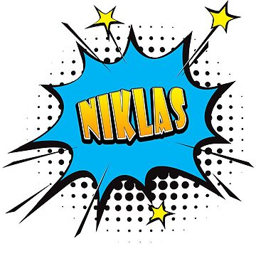 Comic book speech bubble font first name Niklas by PM-Names