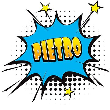 Comic book speech bubble font first name Pietro by PM-Names