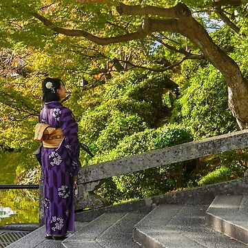 Japanese woman dressed in Traditional Kimonos at the Kiyomizu-dera Temple, Kyoto, Japan by PhotoStock-Isra