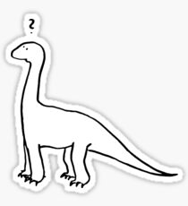 The Quizzical Dinosaur (solid white) Sticker