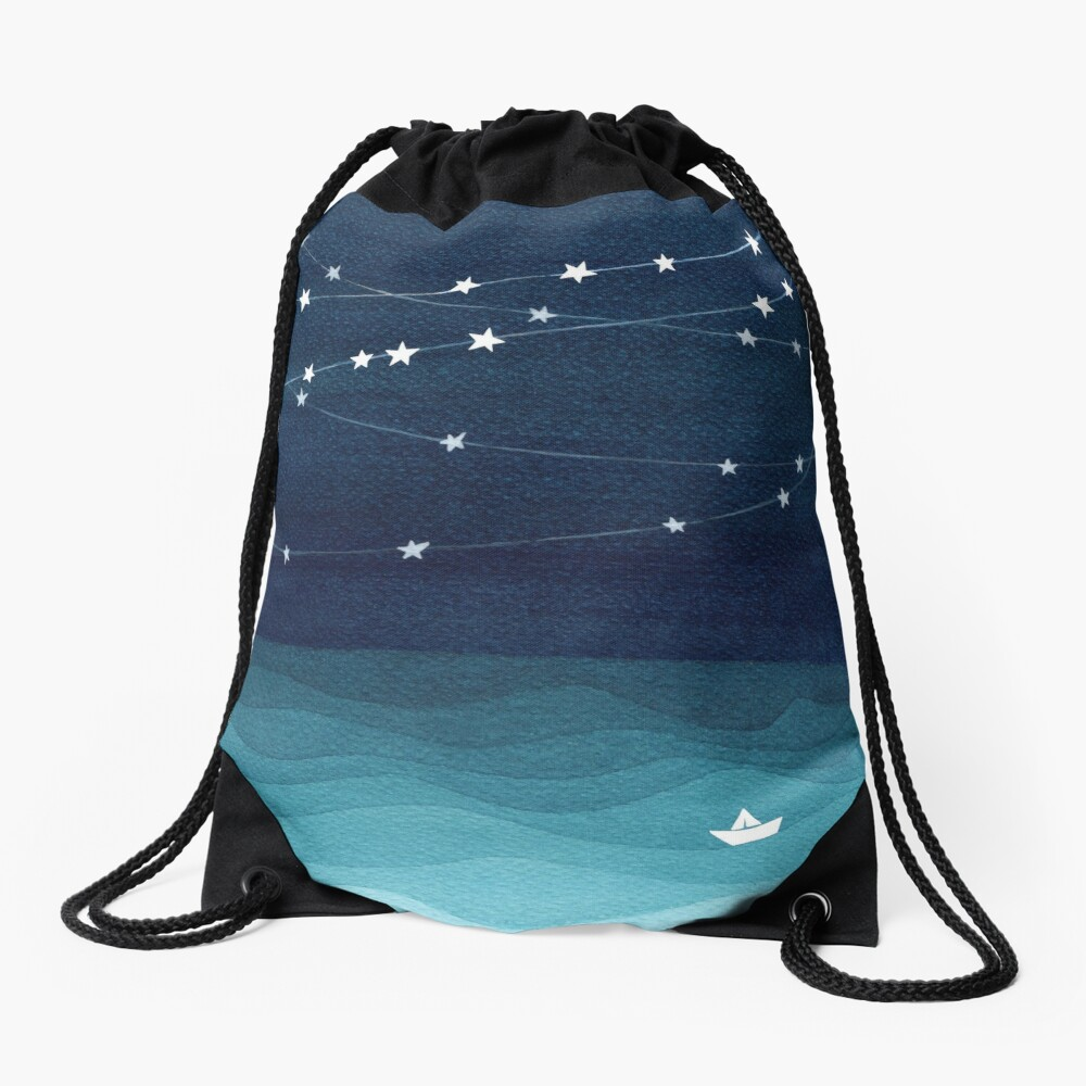 Garland of stars, teal ocean Drawstring Bag