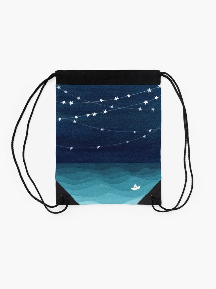 Alternate view of Garland of stars, teal ocean Drawstring Bag