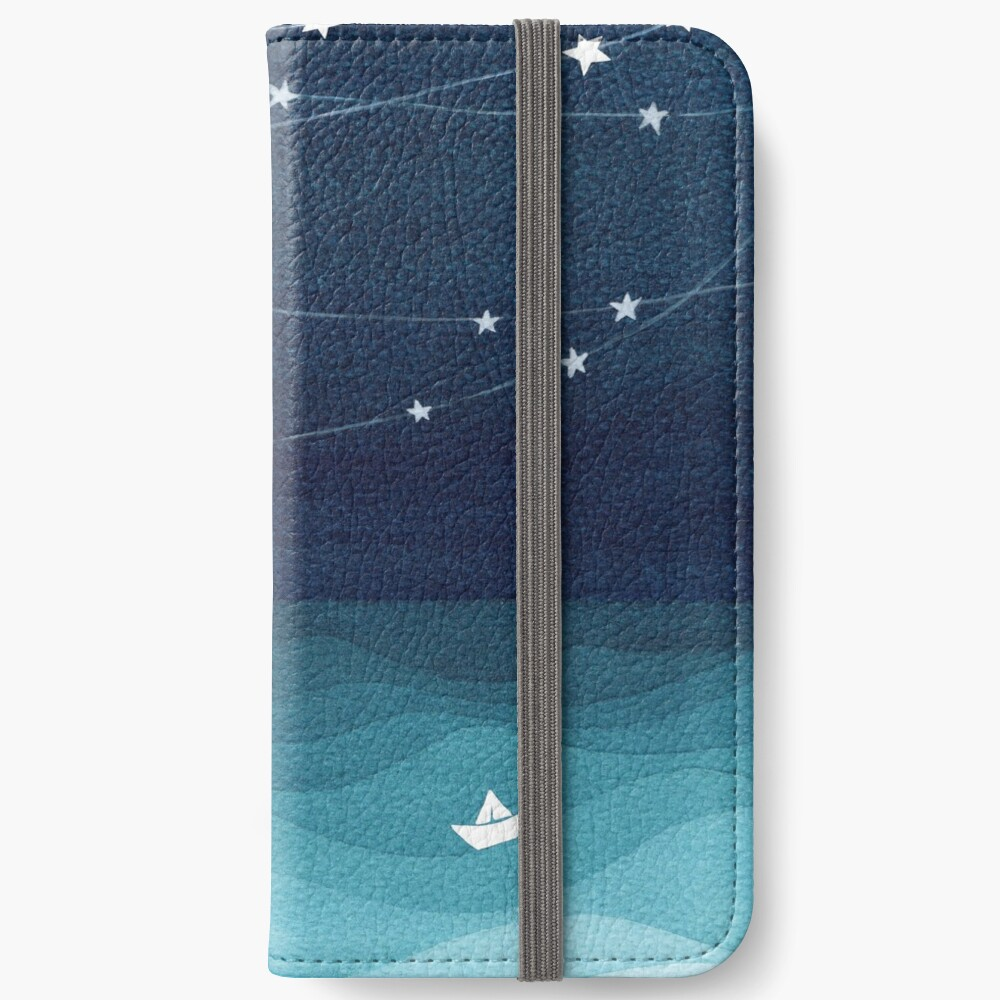 Garland of stars, teal ocean iPhone Wallet