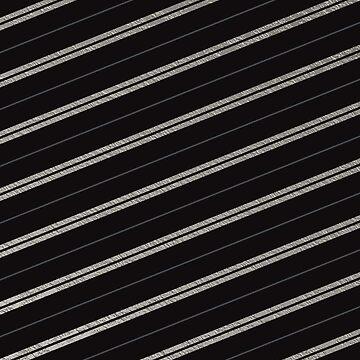 Matte Black Silver Diagonal Stripes Chic Faux Shiny Metallic Geometric Pattern by jollypockets