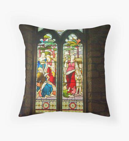 Window #1 - St Oswald's Church - Arncliffe Throw Pillow