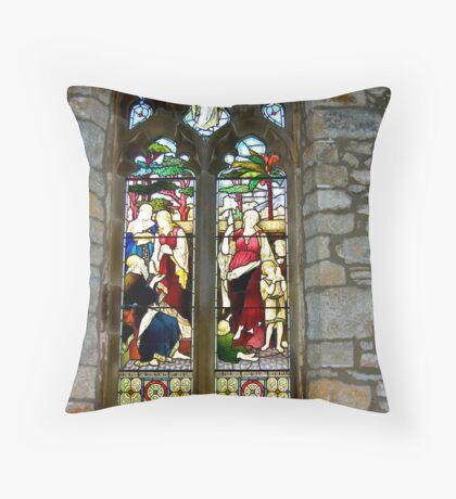 Window #3 - St Oswald's Church - Arncliffe Throw Pillow