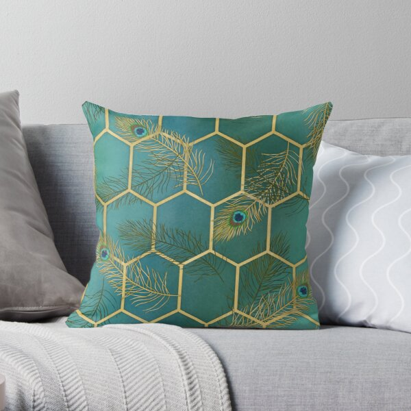 Gold lux for peacocks Throw Pillow