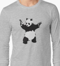 Banksy Pandemonium bewaffneter Panda Artwork, Pandamonium Street Art, Poster, Drucke, T-Shirts, Männer, Frauen, Kinder Langarmshirt