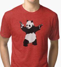 Banksy Pandemonium Armed Panda Artwork, Pandamonium Street Art, Design For Posters, Prints, Tshirts, Men, Women, Kids Tri-blend T-Shirt