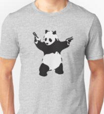 Banksy Pandemonium Armed Panda Artwork, Pandamonium Street Art, Design For Posters, Prints, Tshirts, Men, Women, Kids Slim Fit T-Shirt