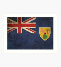 Old and Worn Distressed Vintage Flag of Turks and Caicos Art Print