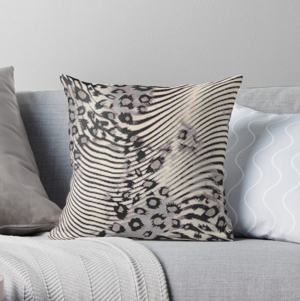 Faux Fur, Leatherette, Leopard/Zebra Combination Throw Pillow