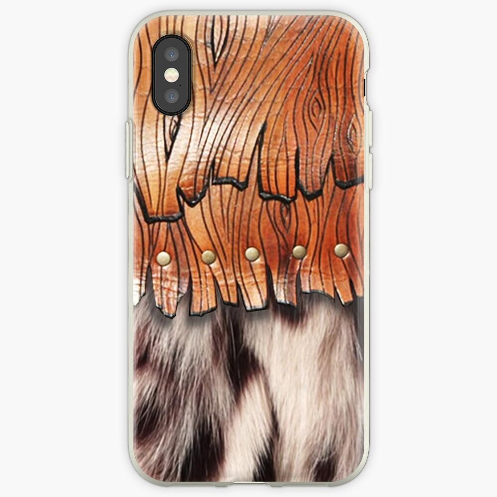 Western Style, Faux Leopard Fur, Leatherette Fringe iPhone Case & Cover