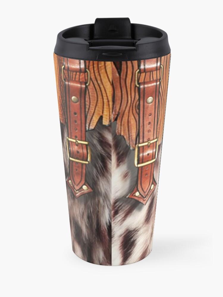 Alternate view of Western Style, Faux Leopard Fur, Leatherette Fringe Travel Mug