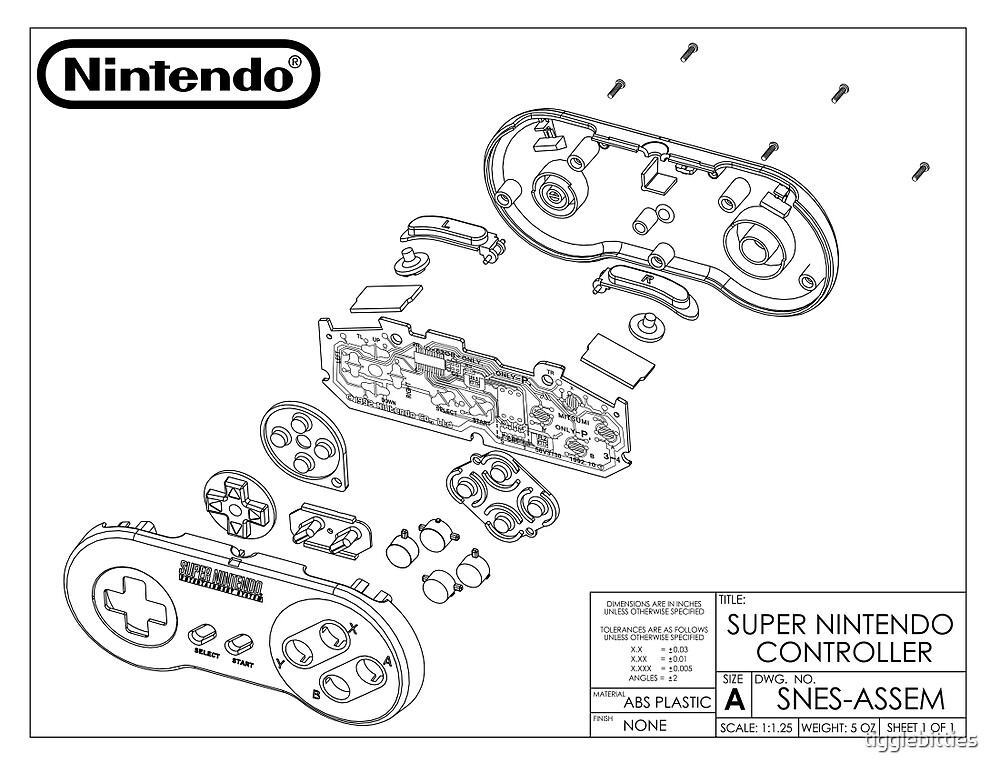"""""""Exploded SNES Controller Schematic"""" by tigglebitties ..."""