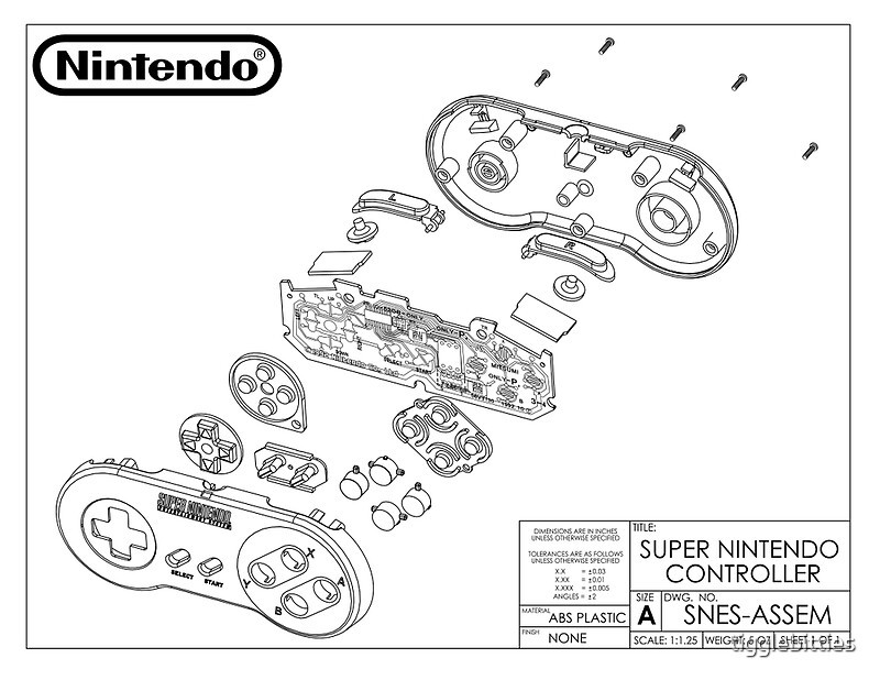Exploded SNES Controller Schematic\