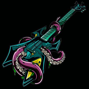 Rock Guitar Trashed By Purple Octopus by headpossum