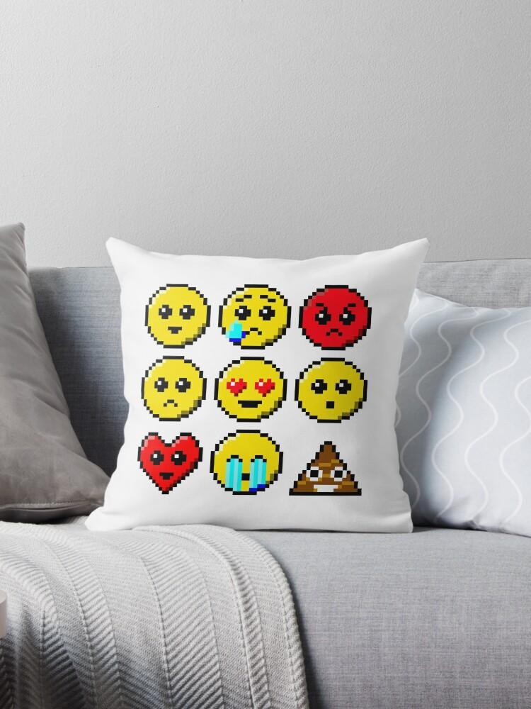 Coussin Pixel Art Faces Sourire Déchirure En Colère Triste Yeux De Coeur Wow Visage De Cœur Crier Par Quacksecho