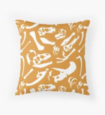 Dinosaur Bones (Gold) Throw Pillow