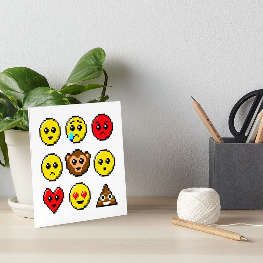 Pixel Art Faces Smile Tear Angry Sad Heart Eyes Wow Heart Face Monkey Poo Art Board Print By Quacksecho
