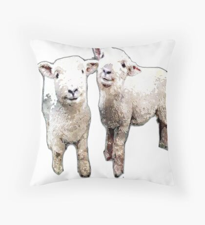 Two Sheep bywhacky Throw Pillow