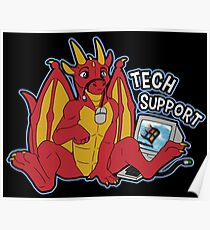 Tech Support Dragon - Rot Poster