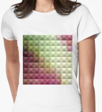 Deep Mauve Purple And Green Abstract Low Polygon Background Womens Fitted T-Shirt