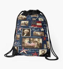 America Patriotic Symbolic Historical Collage Drawstring Bag