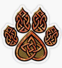 Celtic Knot Pawprint - Red Transparent Sticker