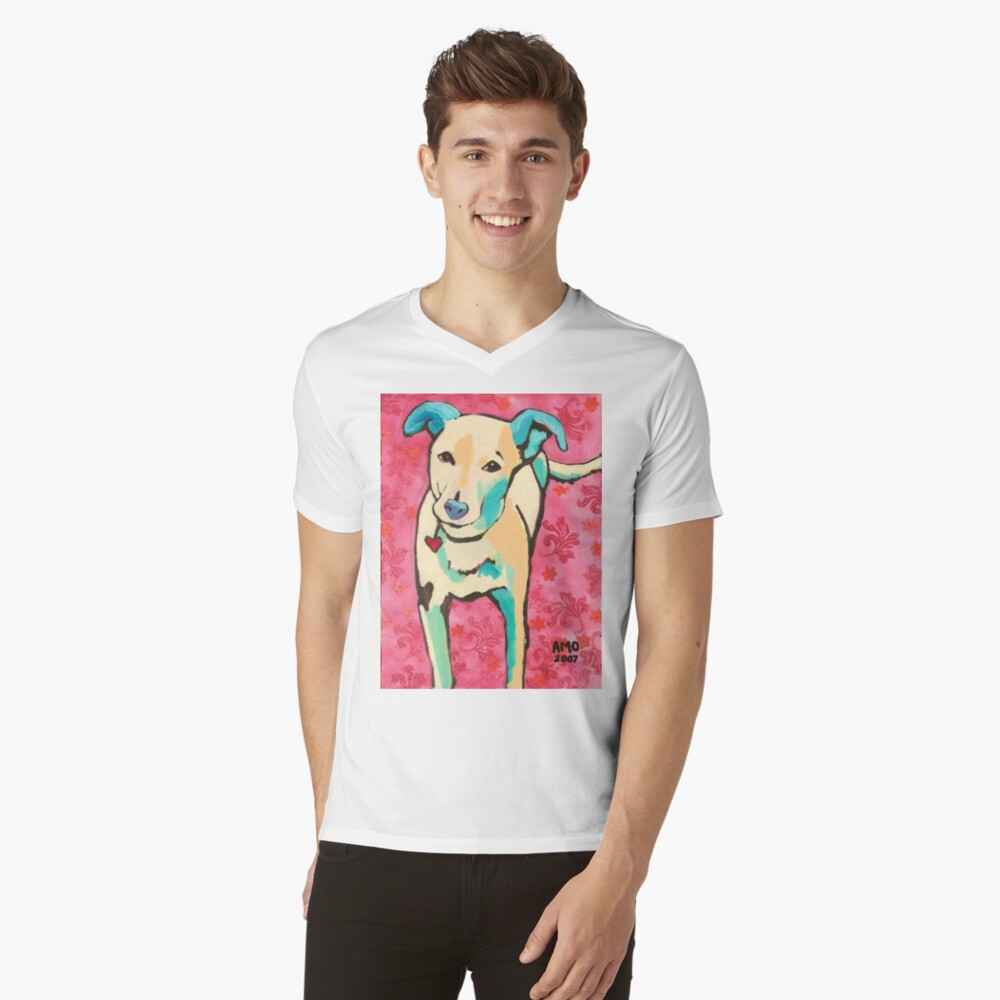 Zoe with Pink Pattern V-Neck T-Shirt