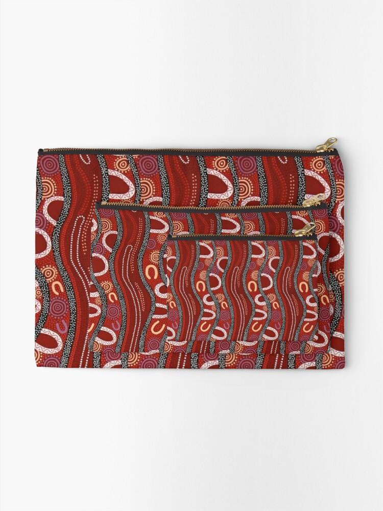 Alternate view of Australian, Pattern Traditional Fabric Print Zipper Pouch
