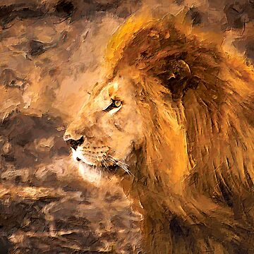 Lion Painting Golden King Art by ironydesigns