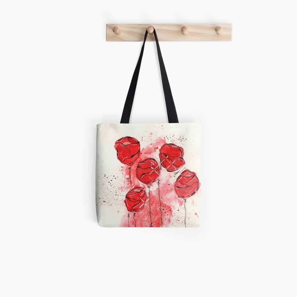 Crimson and Cream Splotch Flowers Tote Bag