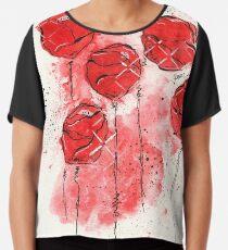 Crimson and Cream Splotch Flowers Chiffon Top