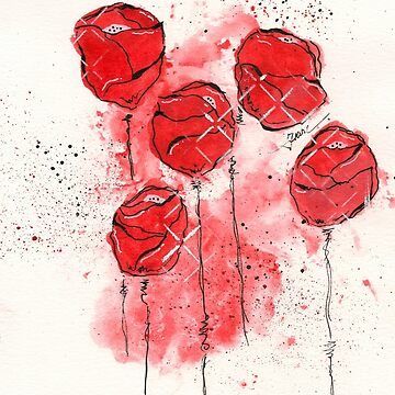 Crimson and Cream Splotch Flowers by classygirl