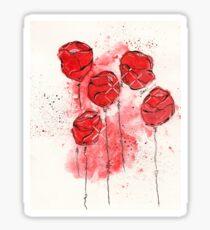Crimson and Cream Splotch Flowers Sticker