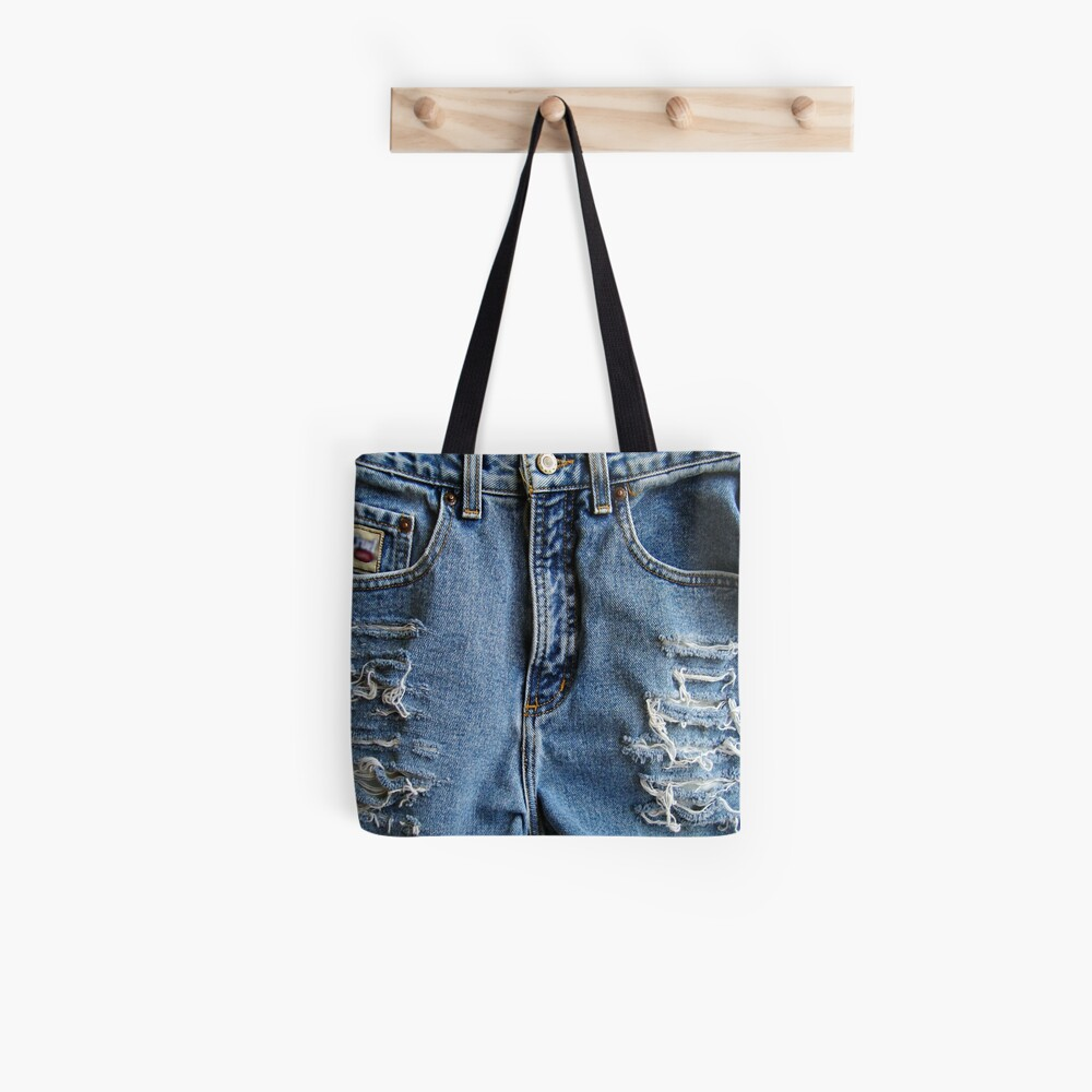 Western Style, Distressed Denim Blue Jeans Tote Bag