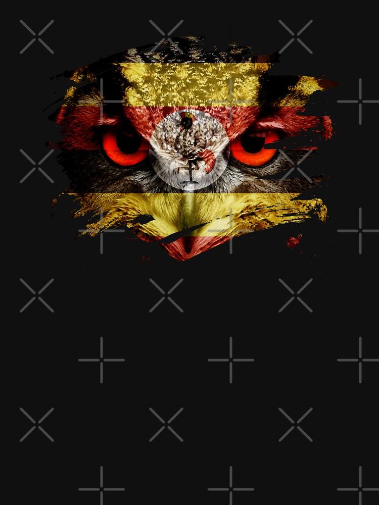 Uganda Flag and Menacing Owl by ockshirts